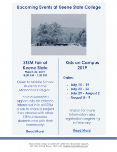 Register for Summer Kids Programs at Keene State University - Programs Begin July 15th @ Keene State University